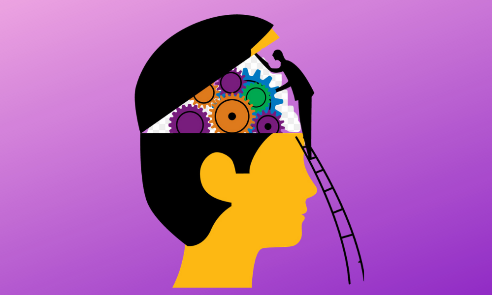 Cartoon on a purple background of a little man climbing a ladder to look inside someones elses brain.That is make of different coloured gears